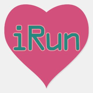 iRun - Teal (Pink outline) Heart Sticker