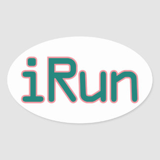 iRun - Teal (Pink outline) Oval Sticker