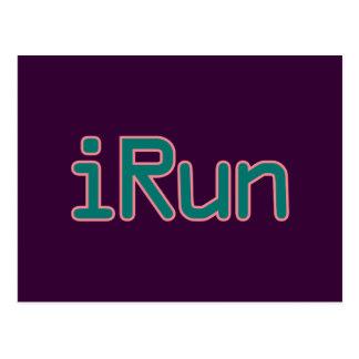 iRun - Teal (Pink outline) Postcard