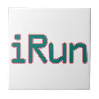 iRun - Teal (Pink outline) Ceramic Tiles