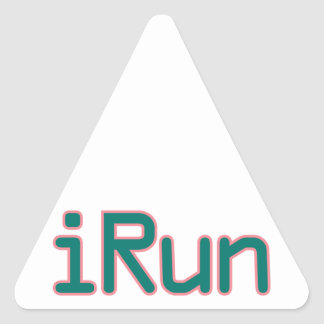 iRun - Teal (Pink outline) Triangle Sticker