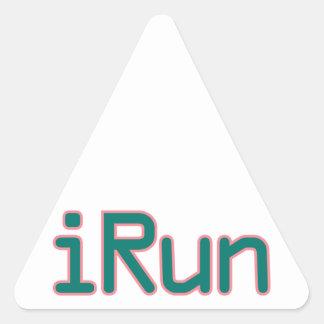 iRun - Teal (Pink outline) Triangle Sticker