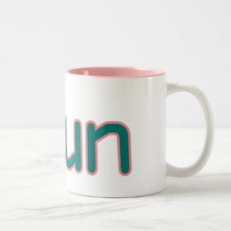 iRun - Teal (Pink outline) Two-Tone Coffee Mug