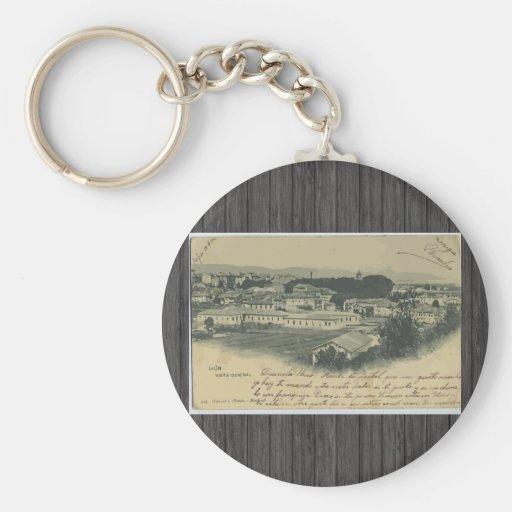 Irun Vista General, Vintage Basic Round Button Keychain
