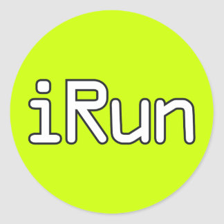 iRun - White Classic Round Sticker