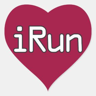 iRun - White Heart Sticker
