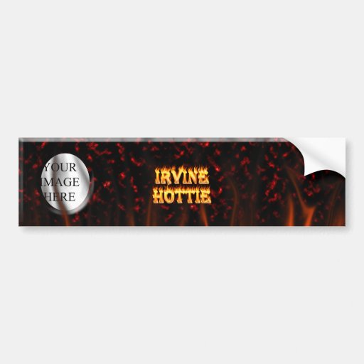 Irvine hottie fire and flames Red marble Car Bumper Sticker