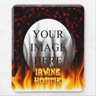 Irvine hottie fire and flames Red marble Mouse Pad