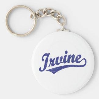 Irvine script logo in blue distressed keychain