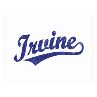 Irvine script logo in blue distressed postcard