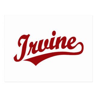 Irvine script logo in red postcard