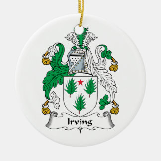 Irving Family Crest Ceramic Ornament