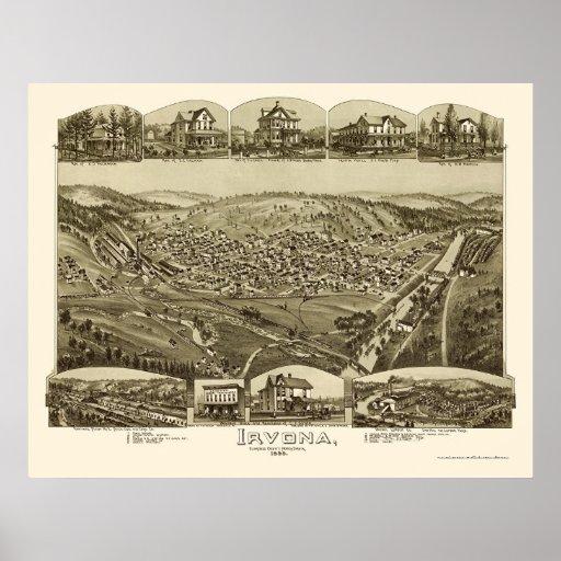 Irvona, mapa panorámico del PA - 1895 Póster