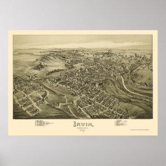 Irwin, PA Panoramic Map - 1897 Poster