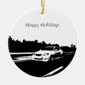 IS350 Rolling Shot with  Black Silhouette Logo Ceramic Ornament