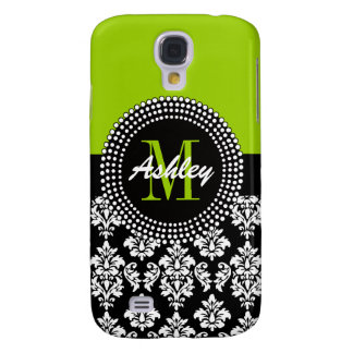 is Green Damask Monogram Name Galaxy S4 Cover