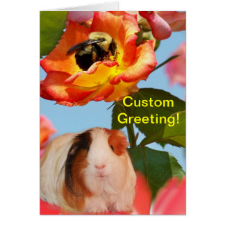 Is he gone yet? Guinea pig hiding from bee on rose Greeting Card