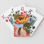 Is he gone yet? Guinea pig hiding from bee on rose Bicycle Card Deck