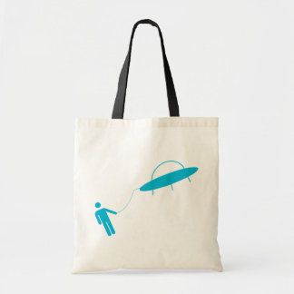 Is he hitching a ride or being abducted by aliens? tote bag
