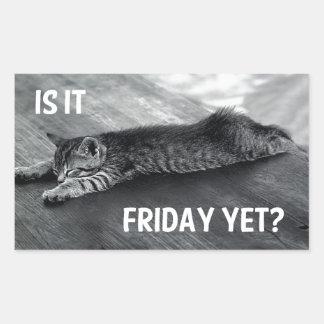 Is It Friday Yet? Funny Cat Design Rectangular Sticker