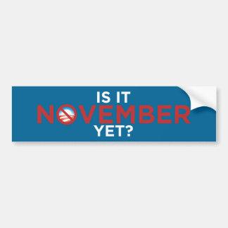 Is It November Yet? Nobama Bumper Sticker Car Bumper Sticker