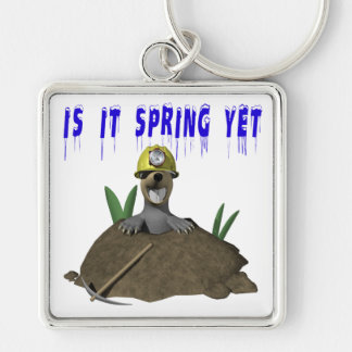 Is It Spring Yet Silver-Colored Square Keychain