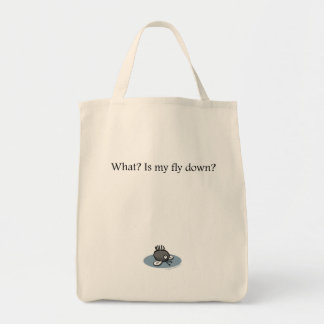Is my fly down? grocery tote bag