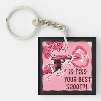 is this your best shoot gun illustration keychain