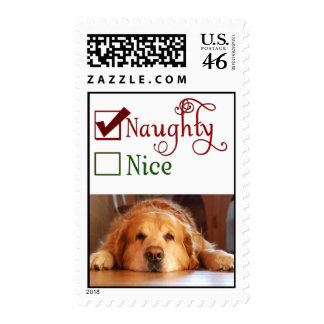 Is your dog naughty or nice postage stamp