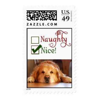 Is your dog naughty or nice? postage stamp