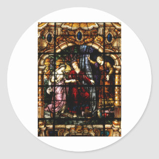 Isaac and Rebekah Stained Glass Art Classic Round Sticker