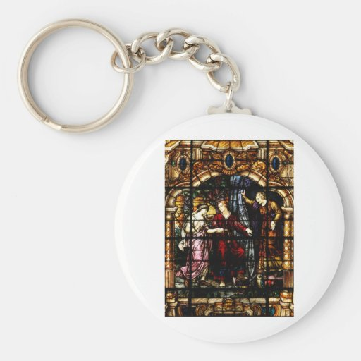 Isaac and Rebekah Stained Glass Art Basic Round Button Keychain