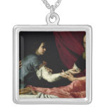 Isaac Blessing Jacob, 1637 Square Pendant Necklace