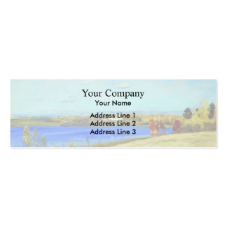 Isaac Levitan- Autumn. River. Double-Sided Mini Business Cards (Pack Of 20)