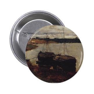 Isaac Levitan- Barges. The Volga. Pinback Buttons