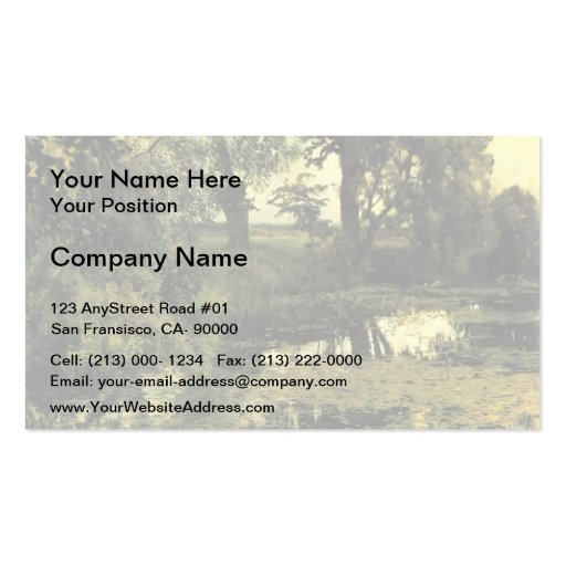 Isaac Levitan- Overgrown pond Business Card Template