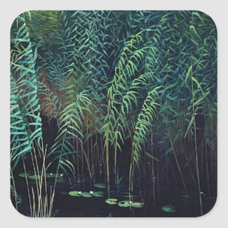 Isaac Levitan- Reeds and water lilies Square Sticker