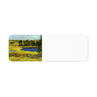 Isaac Levitan- The Lake. Barns at edge of forest. Return Address Label