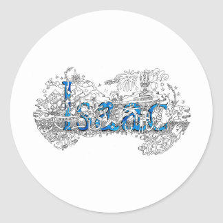 Isaac name art design by Dick Skilton Classic Round Sticker