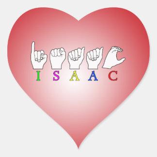 ISAAC  NAME ASL FINGERSPELLED SIGN HEART STICKER
