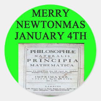 isaac newton christmas joke round sticker