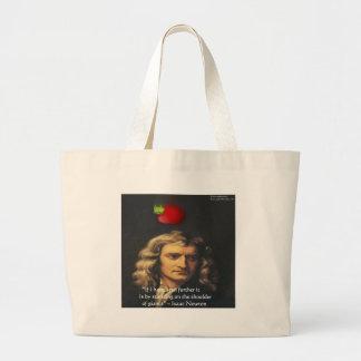 "Isaac Newton ""Giants Shoulders"" Wisdom Gifts & Tee Large Tote Bag"