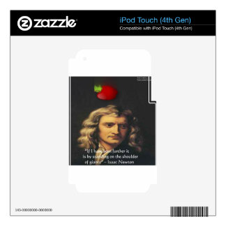 """Isaac Newton """"Giants Shoulders"""" Wisdom Gifts & Tee Skin For iPod Touch 4G"""