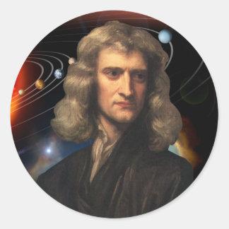 Isaac Newton Pegatina Redonda