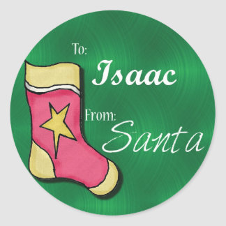 Isaac Personalized Christmas Label59 Classic Round Sticker