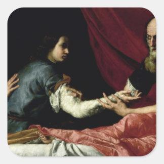 Isaac que bendice a Jacob, 1637 Pegatina Cuadrada