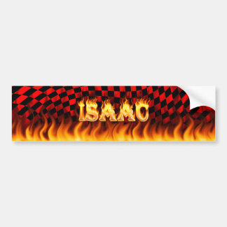 Isaac real fire and flames bumper sticker design.