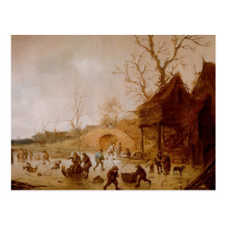 Isaac van Ostade Winter Landscape with players Postcards
