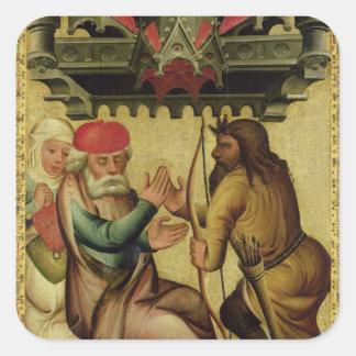 Isaac y Esau del alto altar Pegatina Cuadrada