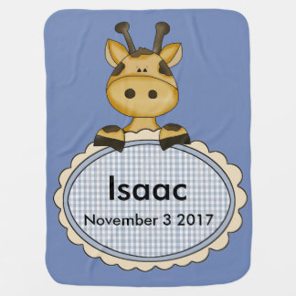 Isaac's Personalized Giraffe Receiving Blanket